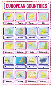 English Worksheet: European Countries: pictionary_1