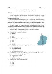 English Worksheet: Statue of Liberty vocabulary quiz, TOEFL Junior