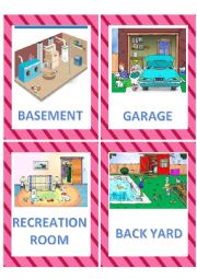 English Worksheet: Areas/Rooms of the house flashcards
