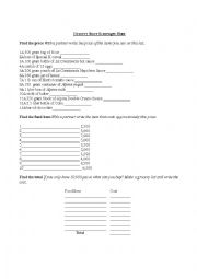 English Worksheet: Grocery Store Scavenger Hunt