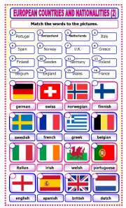 English Worksheet: European Countries and Nationalities: matching_2