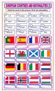 English Worksheet: European Countries and Nationalities: matching_3
