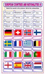English Worksheet: European Countries and Nationalities: matching_4