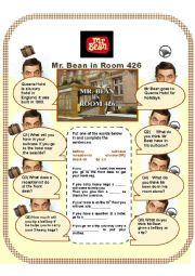 English Worksheet: Mr Bean in Room 426 (2) Gap fills & Conversation Qs