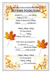 English Worksheet: AUTUNM POEM