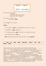 English Worksheet: The difference between USED TO and WOULD plus exercises