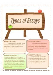 types of essays worksheets Become aware that writing with a purpose (knowing the writing objective for an  assignment) makes it easier to know how to structure an essay and what kinds of.