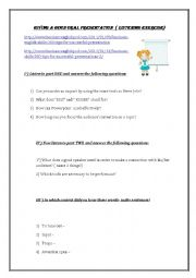 English Worksheet: Listening: How to give a good oral presentation
