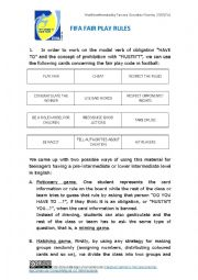 English Worksheet: FIFA fair play rules with games on modals