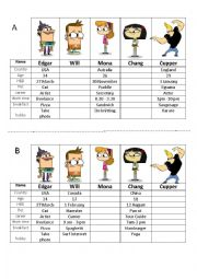 English Worksheet: Information Gap for ice-breaking speaking class