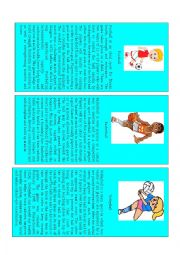 English Worksheet: Card Game Health part 1 out of 3 ( Sports & Prepositions)