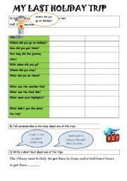 English Worksheet: your last holiday trip_class survey