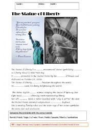 English Worksheet: THE SATUE OF LIBERTY