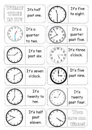 English Worksheet: Time on the clock Domino