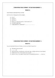 English Worksheet: CONVERSATION CORNER !