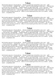 English Worksheet: Talent