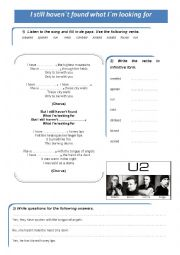 English Worksheet: present perfect song. I still haven�t found what I�m looking for by U2