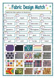 English Worksheet: Fashion Design Matching