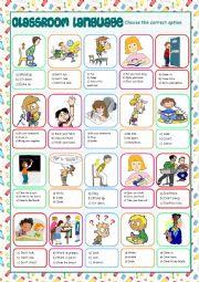 English Worksheet: Classroom Language Multiple Choice