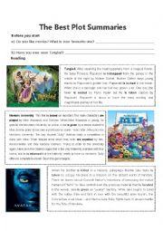 English Worksheet: Plot Summaries