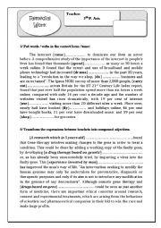 English Worksheet: remedial work fr third form