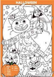 English Worksheet: halloween colour by number