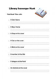 Library Scavenger Hunt Worksheet Worksheets For School - Studioxcess