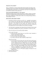 English Worksheet: Tea party stages and process