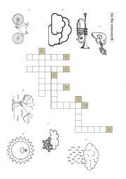 English Worksheet: The weather crossword