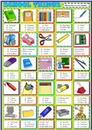 English Worksheet: School things , multiple choice activity