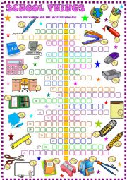 English Worksheet: School things , crossword puzzle with hidden message