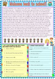 English Worksheet: Welcome back to school : reading comprehension