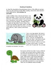 English Worksheet: Animals writing and reading