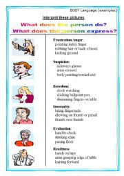 English Worksheet: Body Language