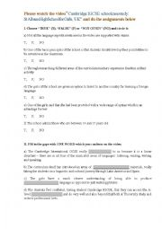 English worksheet: Working with a Video on the Subject