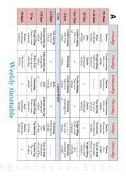 Timetable Piarwork
