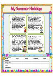 English Worksheet: My Summer Holidays