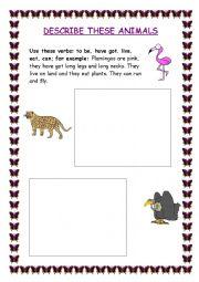 english worksheets describe an animal. Black Bedroom Furniture Sets. Home Design Ideas