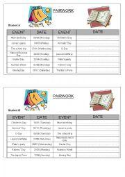 English Worksheet: When is...? Pairwork