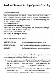 English Worksheet: used to / be used to / get used to/
