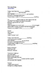 English Worksheet: Lazy Song - By Bruno Mars