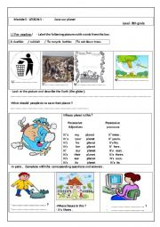 English worksheet: Module 5: Save our planet!