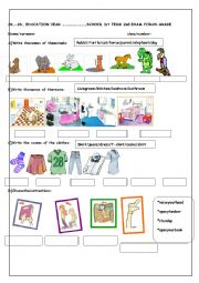 English worksheet: 4th  grade 2nd term 1st exam