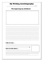 English Worksheet: My Writing Autobiography