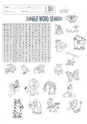 English Worksheet: JUNGLE ANIMALS - WORD SEARCH
