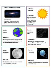 English Worksheet: solar system cards