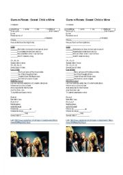 English Worksheet: Song : Sweet Child O´ Mine : Guns N´ Roses