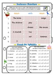 Sentence Structure & Counting Syllables 2