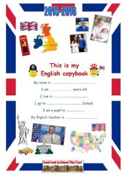 English Worksheet: 2015-2016 copybook cover page Year 8 pupils
