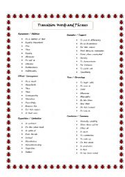 English Worksheet: Transition Words and Phrases